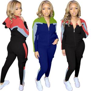 Womens Tracksuit Mulheres Casual Patchwork Zipper Esportes Dois Peça Set Top e Calças Tracksuit Sweatsuit Outfits