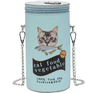 Fashion Cartoon Cat Canned Design Pu Cylindrical Girl's Shoulder Bag Tote Crossbody Mini Bag Casual Purse For Women Flap