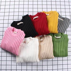 0-6 лет Детские девушки свитера наморс сплошной цвет малыша мальчики свитера весной осень теплые вязаные дети ребристый пуловер KF966 201109