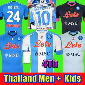 Maradona 20 21 Napoli Soccer Jersey Naples Football Shirt 2020 2021 Koulibaly Camiseta de Fútbol Insigne Milik Maillots Hombres Niños 4to