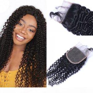 Bebek Saç Doğal Siyah Ucuz Dantel Kapatma Remy Saç Pieces ile Moğol İnsan Saçın 4x4 Kinky Kıvırcık Dantel Kapanış