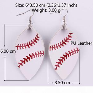 2018 New Trendy Softball Baseball Soccer Golf Genuine Leather Teardrop Round Leaf Statement Earrings Round Disc Leather Drop Earrings