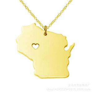 Collier Wisconsin Carte États-Unis en acier inoxydable cadeaux necklace.Give à des amis.