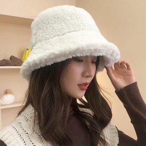 Las mujeres del otoño del invierno del sombrero Señoras sólido Berber Fleece sombrero del cubo Mujer Flat Top caliente grueso Panamá Pesca Cap poco voluminoso
