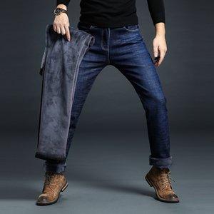 Vomint New Men's Business Dritto Plus Brand Veet Pantaloni regolari Jeans regolari Tessuto casual caldo elastico