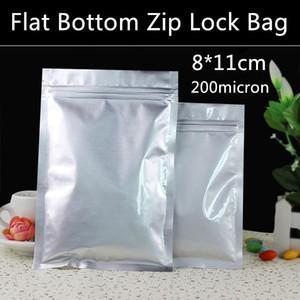 400pcs / lot gros 8cm * 11cm 200micron La feuille d'aluminium Zip, Sacs Gel Sac nourriture, refermables Sacs de détail, sacs secs