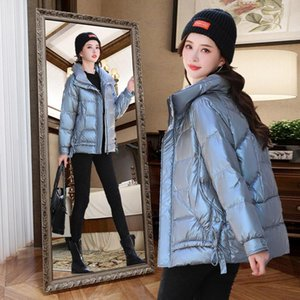 2021 Winter New Short Down Jacket Women Loose Casual Solid Color Parkas Stand Collar Coat White Duck Down Woman Outwear Y32