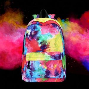 Tim Mujeres Adolescentes Mochila Mochilas Nylon Bolsos Escolares Casual Capacidad grande Arco iris Color Bolsas de viaje Bolsos D703 #
