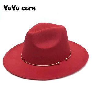Yoyocorn Lana Fedora Cálido Jazz Hat Sombrero Chapeau Femme Feutre Panamán Hat Fieltro Mujeres Fedora Sombreros Con Pearls Belt Vintage Trilby Caps 201028