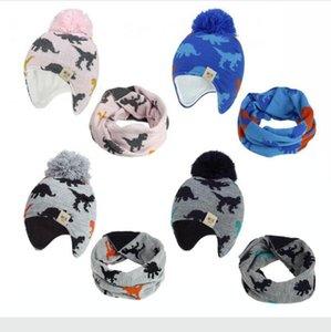 2020 Knitted Baby Ear Hats With Scarf Newborn Winter Beanie Warm Caps Set Soft Hat Child Girls Boys Bonnet Infant Hat DDA629