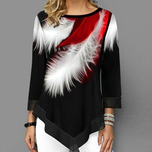 Women Elegant Blouse Patchwork Tops Long Sleeve Round Neck Female Print Shirt Casual Loose Tee Shirt Plus Size 5XL