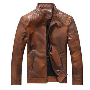 Newest mens vintage fish faux leather jacket men