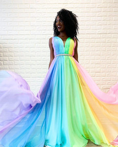 Rainbow Gradient Prom Evening Dresses Wear Pleated Beaded Sashes A-line Ombre Formal Dress Party Gowns Bridesmaid Special Occasion Women