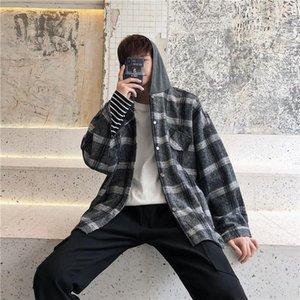 Camisa de tela escocesa de otoño Moda de hombre Retro Casual Casual Chaqueta de lana Hombres Streetwear Flow Korean Woolen Coat Mens Shirts M-2XL