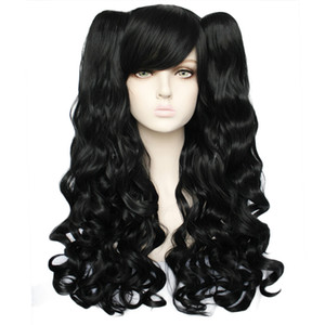 Lolita Long Body Wave High Temperature Fiber Brown Pink Black Blonde Multi-color Synthetic Cosplay Wigs with 2 Ponytails