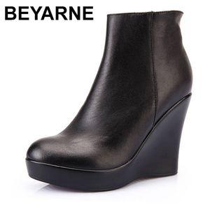Beyarne authentique cuir automne hiver bottes chaussures femmes chevilles bottines femmes cales bottes femmes bottes plate-forme shoese255 201102