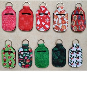 NEW RTS Christmas Gift Sets Hand Sanitizer Holder+Wristlet+Chapstick holder Portable Neoprene Cover with Keychain Hot sale ZZF2390