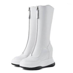 Womens Real Cow Leder Mid Calf Boots Keil Hidden Heel Platform Central Reißverschluss Schwarz Weiß Schuhe Punk Reiten Motorrad Neu1