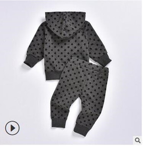 Cross border exclusive autumn 2019 children's polka dot Hoodie + dot casual fashion two piece suit for boys and girls