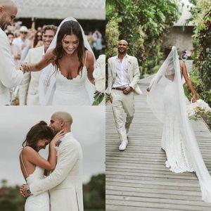 2021 Full Lace Mermaid Wedding Dresses Spaghetti Straps Open Back Sexy Robe De Marige Long Sweep Bride Vestidos De Novia