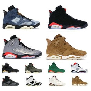 Vendendo 6s Shoes Men Basquete denim lavado Jumpman Basketball Varsity Red Preto 6s Infrared 3M JSP Moda Reflective Sliver Sneakers