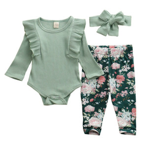 Brand New Baby Set Infant Newborn Baby Boy Girls Long Sleeve Romper Pants Cotton Bow Headband Autumn Ruffles Free Shipping 201027