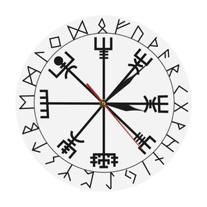 Viking Pagan Asatru Runic Compass Wall Clock Vegvisir Rune Circle Viking Norse Mythology Simple Modern Clock Watch Helm of Awe