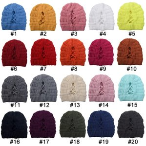 Women's cross horsetail hat autumn winter keeping warm hat versatile knitting hat party Hats DB057