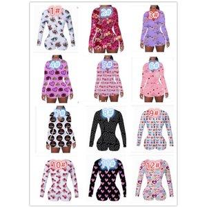Saint Valentin Femmes Femmes Pajama Nightwear Nightwear PlaySuit Bouton Skinny Hot Print Print Jumpseuits Courts Courts Courts Courts Beaux DHL