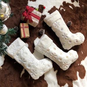 Los titulares del regalo del copo de nieve Medias DHL de imitación de piel de conejo de lentejuelas calcetín celebración de días festivos de Navidad Familia Decoración