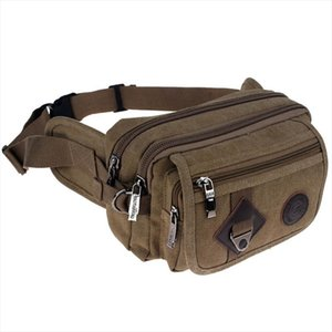 16OZ Canvas Casual Belt Waist Pack Men Womens Tri layer Fanny Bag Cell Mobile Phone Wallet Punch Case Unisex