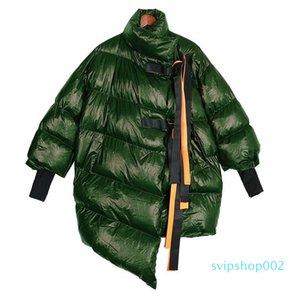 Women Winter Silver Big Size Long Bubble Coat Solid Ribbons Warm Parka Ladies Windbreaker Style Outerwear