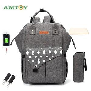 Diaper Bag Backpack Multifunction Travel Back Pack Maternity Baby Changing Bags Large Capacity Waterproof Bag Hook Pad Gray Blue 201021