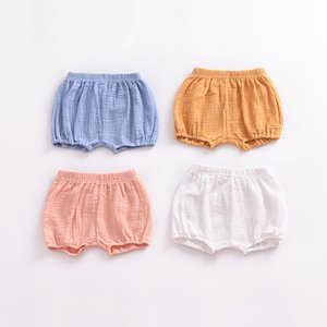 Newborn Baby Bread Pants Kids Girl Boy Short Pants Children Knickers Solid Cotton Linen Elastic Waist 387 J2