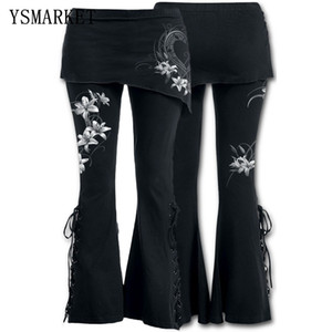 YSMARKET S-5XL Donna 2 in 1 Boot Cut Leggings Plus Size Micro Slant Gonna Pantaloni punk gotici Lace Up di Bell Leggings inferiore E22045 201012