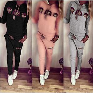 Monkey Hooded cute Suit Set 2020 Women Tracksuit Two piece Sport Style Outfit Jogging Sweatshirt Fitness Lounge Sportwear
