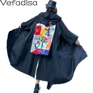 Mulher do revestimento dos desenhos animados Imprimir com capuz Casual Trench Coat com cordão cintura Irregular QYF881 2020 Vefadisa Inverno emendado Trench