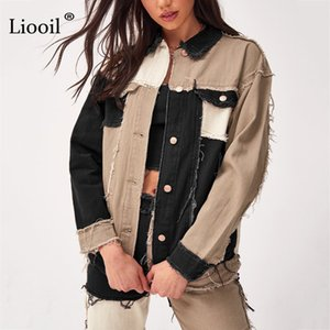 Liooil Patchwork Denim Loose Coats And Jackets Women Fall Winter Streetwear Color Block Jacket Button Up Pockets Sexy Thin Coat 201106