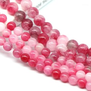 Natural Peach Blossom Stone Chalcedony Beads Jewelry Accessories Beaded Bracelet Semi-finished Necklaces Couple Transit Bead1