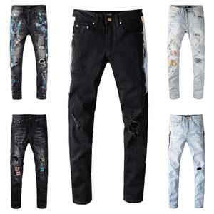 Neueste Männer Skinny Denim Designer Jeans Motorrad Biker zerrissene Löcher Taille Klassische Waschen Hip Hop Hosen Asiatische Größe 28-40