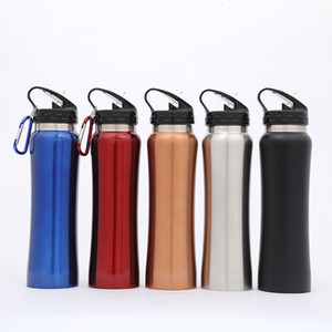 Stainless Steel Water Bottle Carabiner Buckle Vacuum Kettle Outdoor Travel Insulated Cooler Drinking Mug Cup With Straw Lid DHL WX9-807