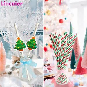 Papierstrohe 2019 Frohe Weihnachten Dekorationen für Heim Tabelle Weihnachtsbaum Ornamente 2020 New Year Party Decor WnDL #