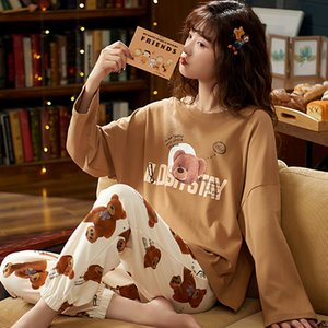 M L XL XXL 3XL 4XL 5XL Long Sleeve Women Nightwear Sleepwear 100% Cotton Nightwear Sets Autumn Pajamas Women Pyjamas 201113