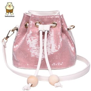 Beibaobao Lady's Bright Surface Solid Color Paillette Single Shoulder Pumping Bucket Bag 4938 R