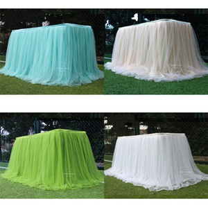 Ice Silk Dessert Tables Skirt Curtain Snow Yarn Wedding Birthday Cake Check In Desk Solid Color Table Cover Surround Red New 30ld M2