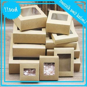 10Pcs Diy Vintage Kraft With Window Paper Gift Box Cake For Bruiloft Home Party Muffin Package Christmas presents