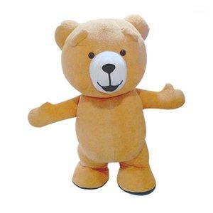 Costume de mascotte gonflable d'ours en peluche Personnaliser Costume de mascotte adulte Couleur marron animal avec ventilateur 3M hauteur Bear1