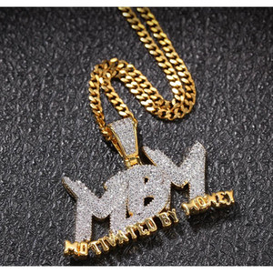 Iced Out Zircon Letter Motivated By Money Pendant Necklace Two Tone Plated Micro Paved Lab Diamond Bling Hip jllEfC bdecoat