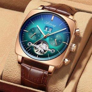 İsviçre İzle Mekanik Otomatik Chronograph Kare Büyük Arama İzle Hollow Su Geçirmez 2020 Yeni Erkek Moda Saatler Lüks LJ201202