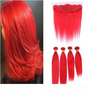 Pure Red Hetero Lace frontal Encerramento 13x4 orelha à orelha com Weaves 4Bundles Malásia Humanos cabelos brilhantes Red Weave tramas com Frontal